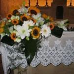 composizione di girasoli per altare
