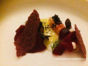 ricetta con gamberi viola e barbabietola